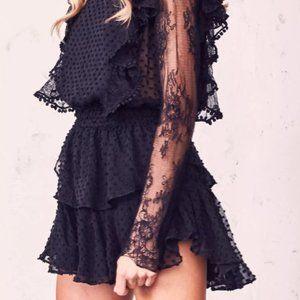 Loveshackfancy Nat dress black lace XS